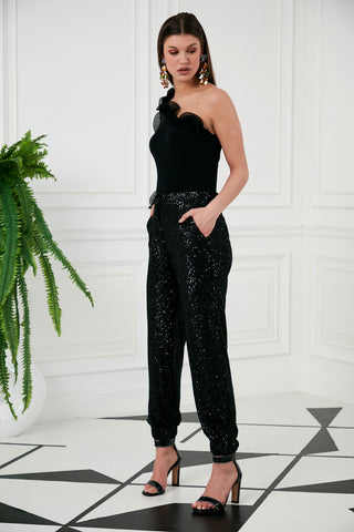 Black Sequin Trousers