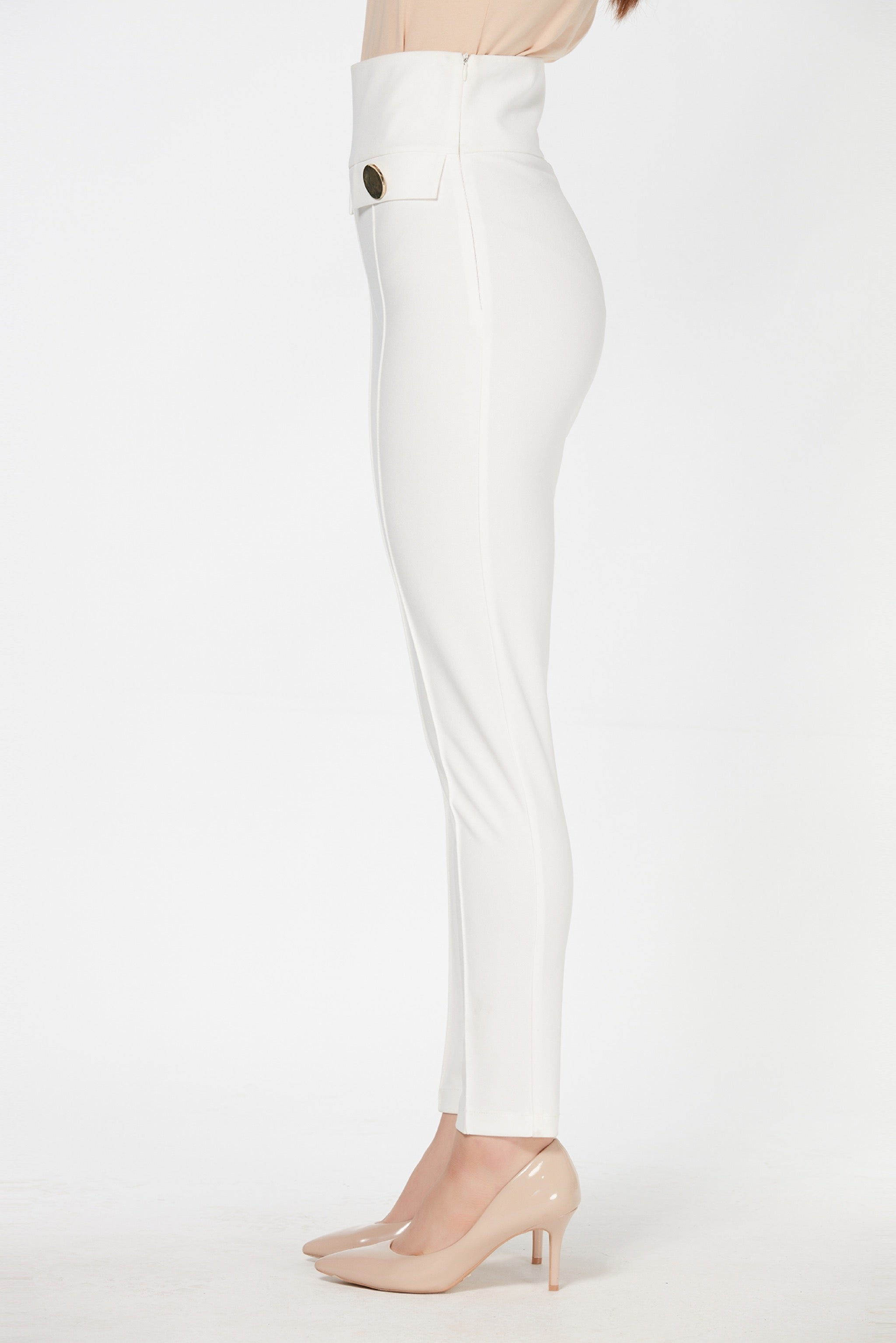 High waist ankle length lined slim trousers - 41960
