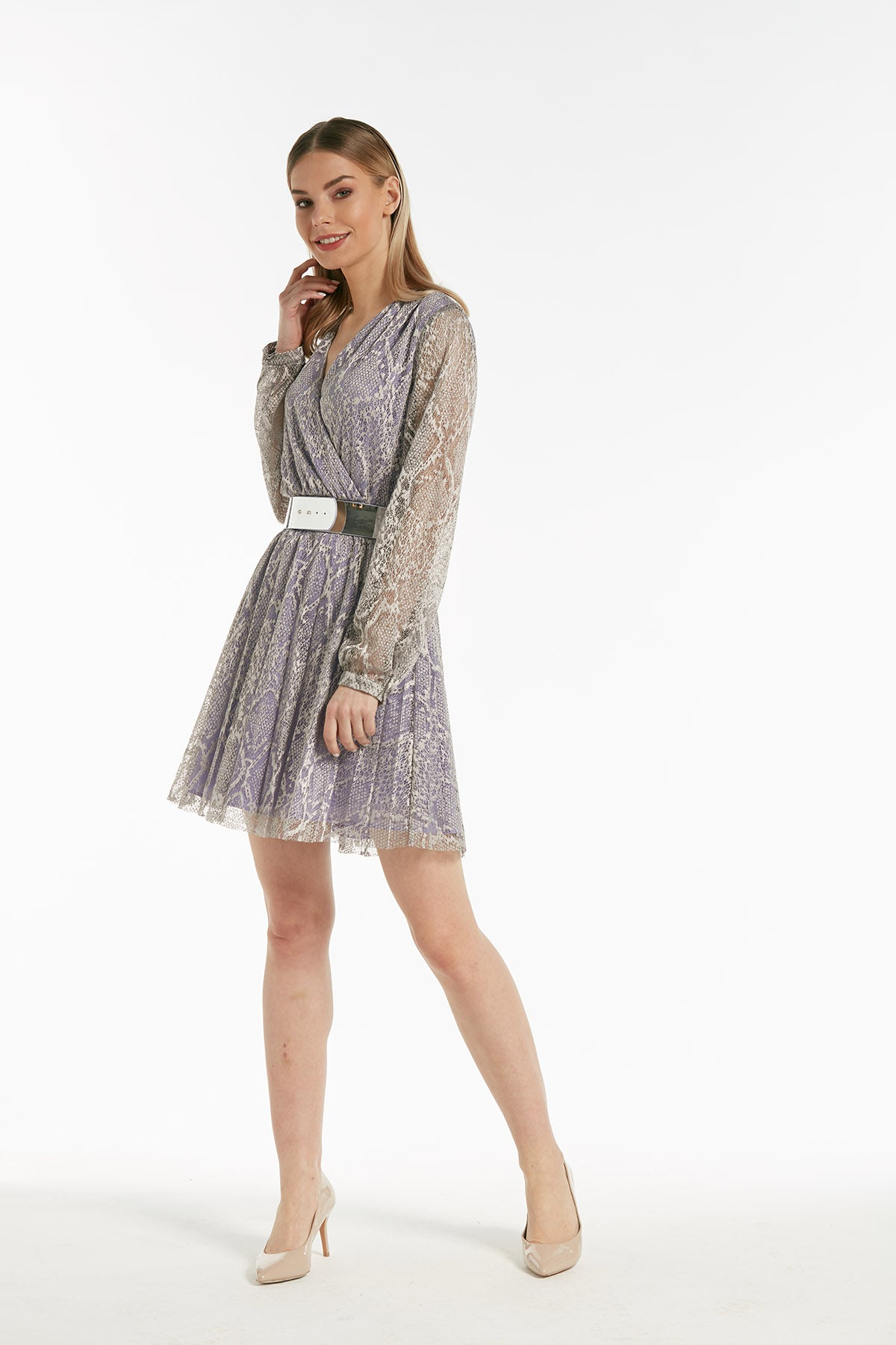 Long sleeves belted snake print dress - 54249