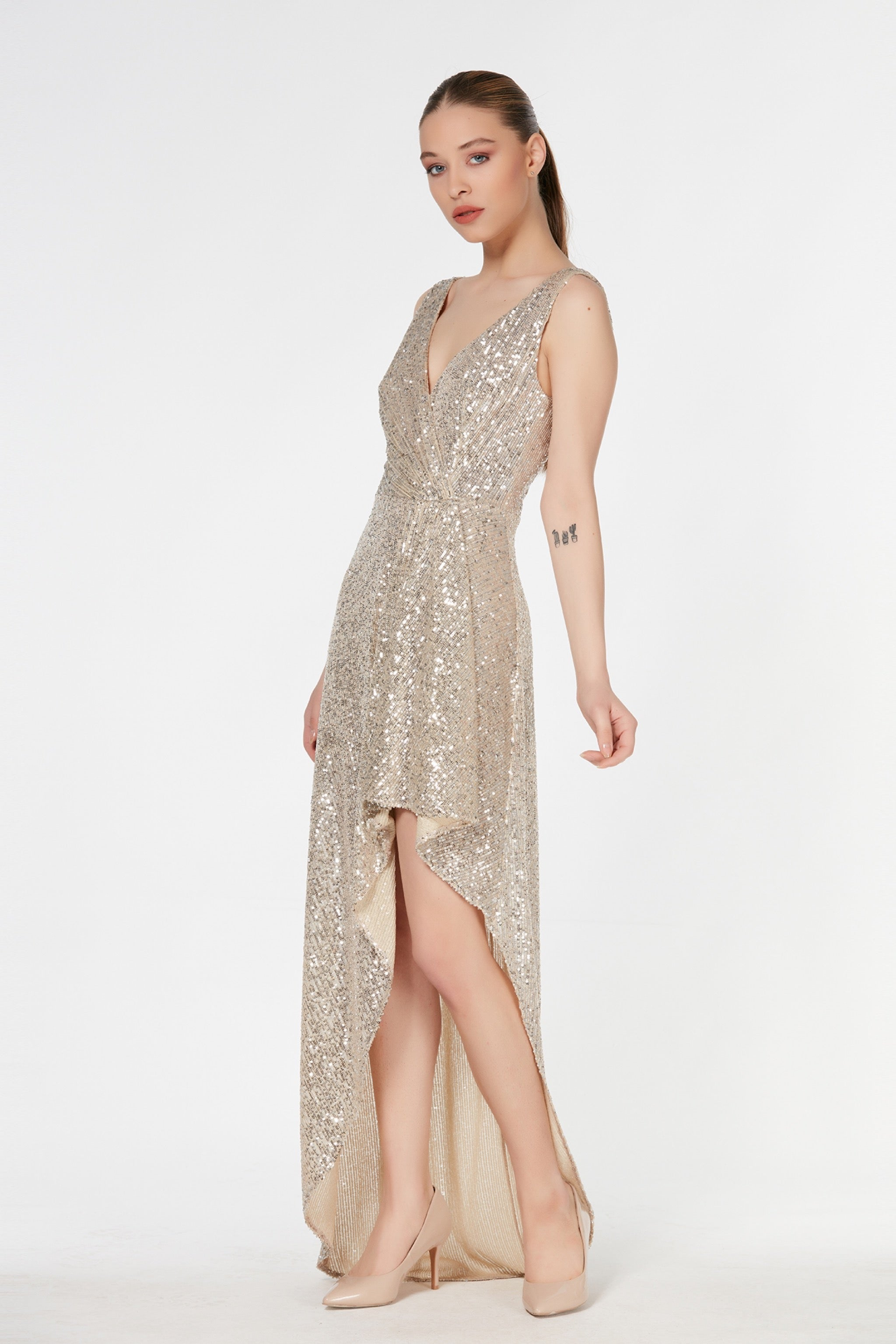 V neck sleeveless sequin maxi dress - 54437