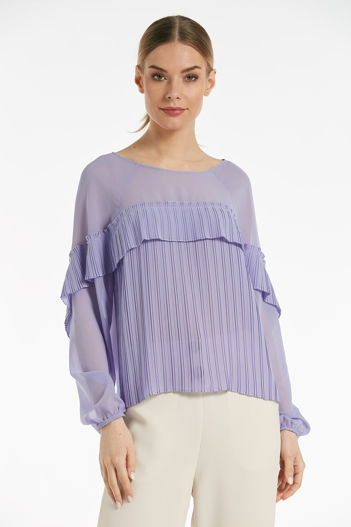 Pleated ruffle long sleeves top - 16142