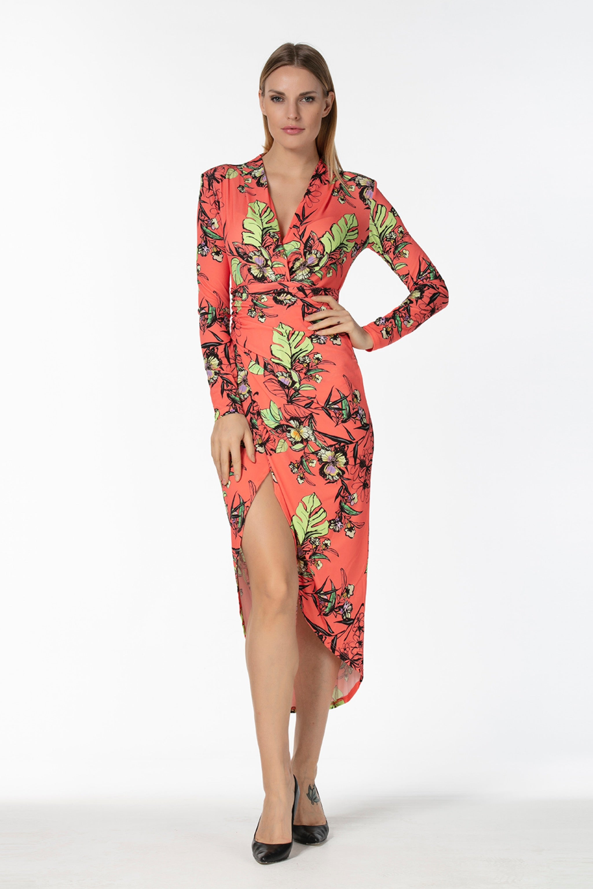 V neck long sleeves wrap midi dress -54345