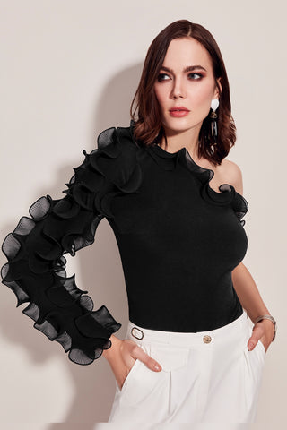 Black one shoulder top
