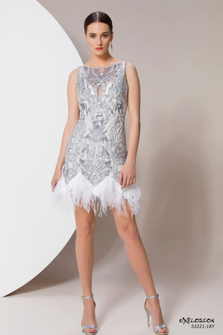 Silver Feather Trim Dress - 53321