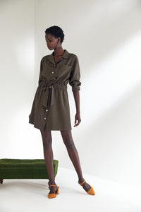 Wrap Mini Shirt Dress with in Khaki colour