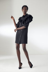 Black Shift Mini Dress with Frill