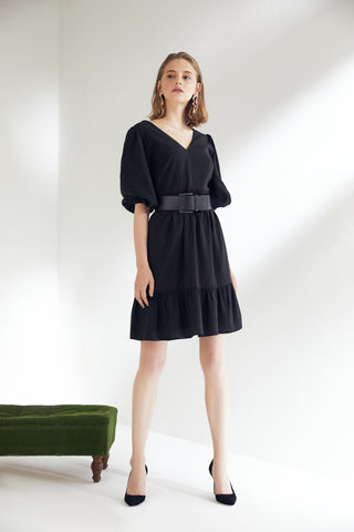 Wrap Mini Skater Dress in Black colour