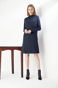High Neck Long Sleeve Knitted Dress in Navy