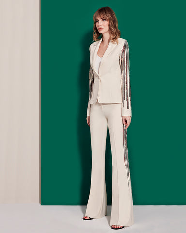 Flare trousers with Sequin Stripes in beige