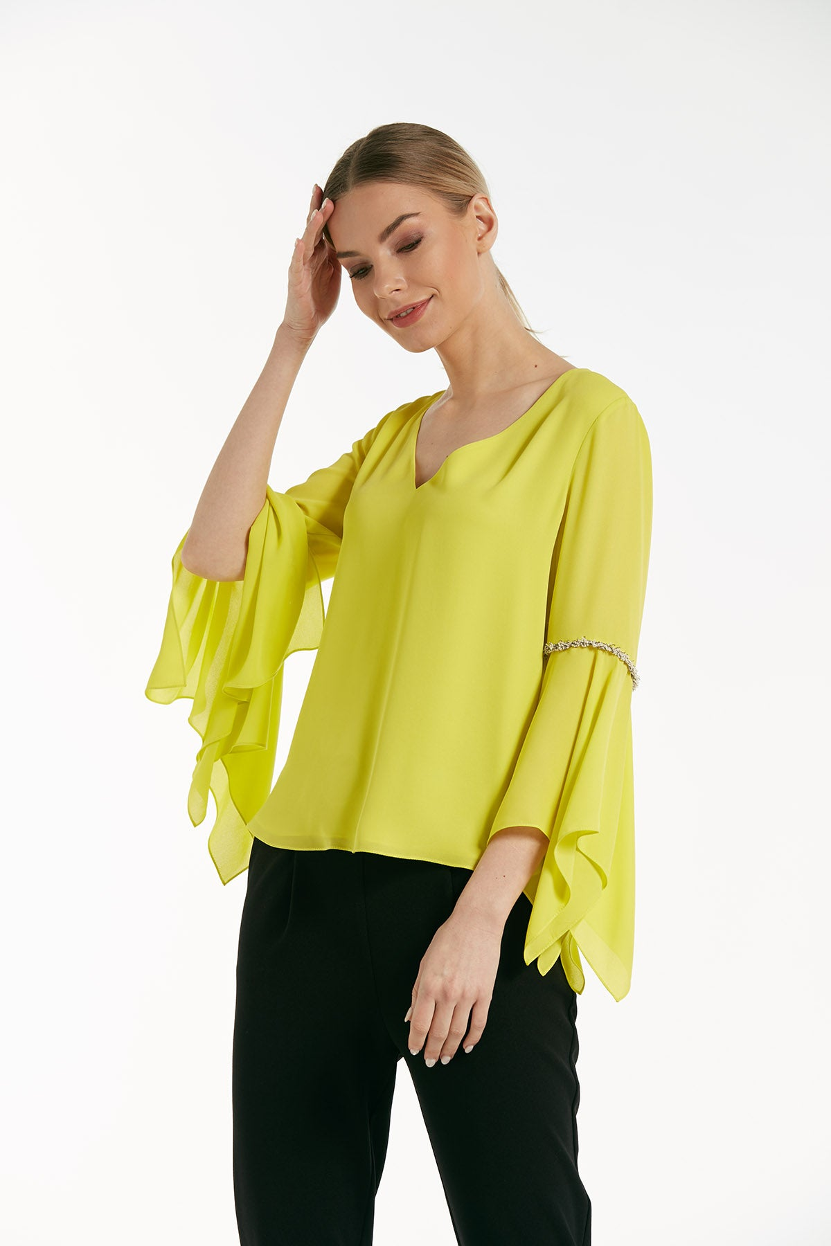 V neck asymmetric sleeves top - 16153