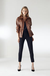 Wrap Leather Jacket with Pockets - jqwholesale.com