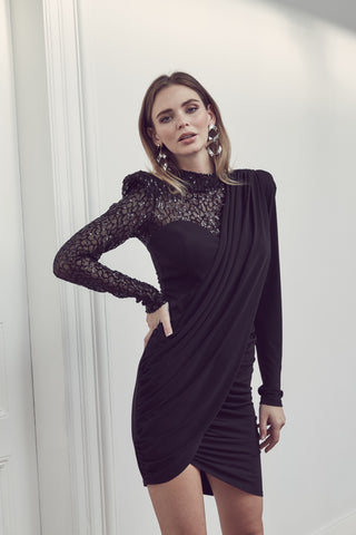 V neck long transparent sleeves black Body top - 16316