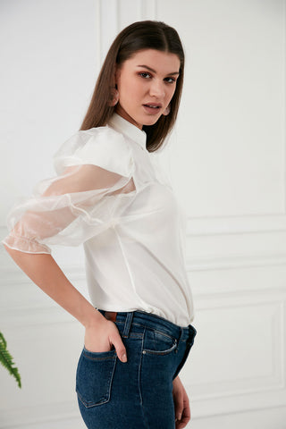 White balloon sleeve top