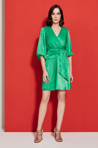 Pleated Polka Dot Dress in green