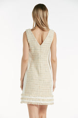 Tweed V neckline sleeveless shift dress - 53317