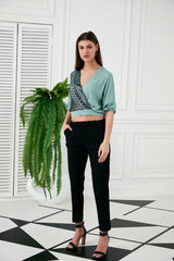 Mint Sequin Crop Top