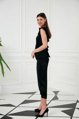 V Neck Ruffle Cup Sleeves Black High Waist Jumpsuit- 71928