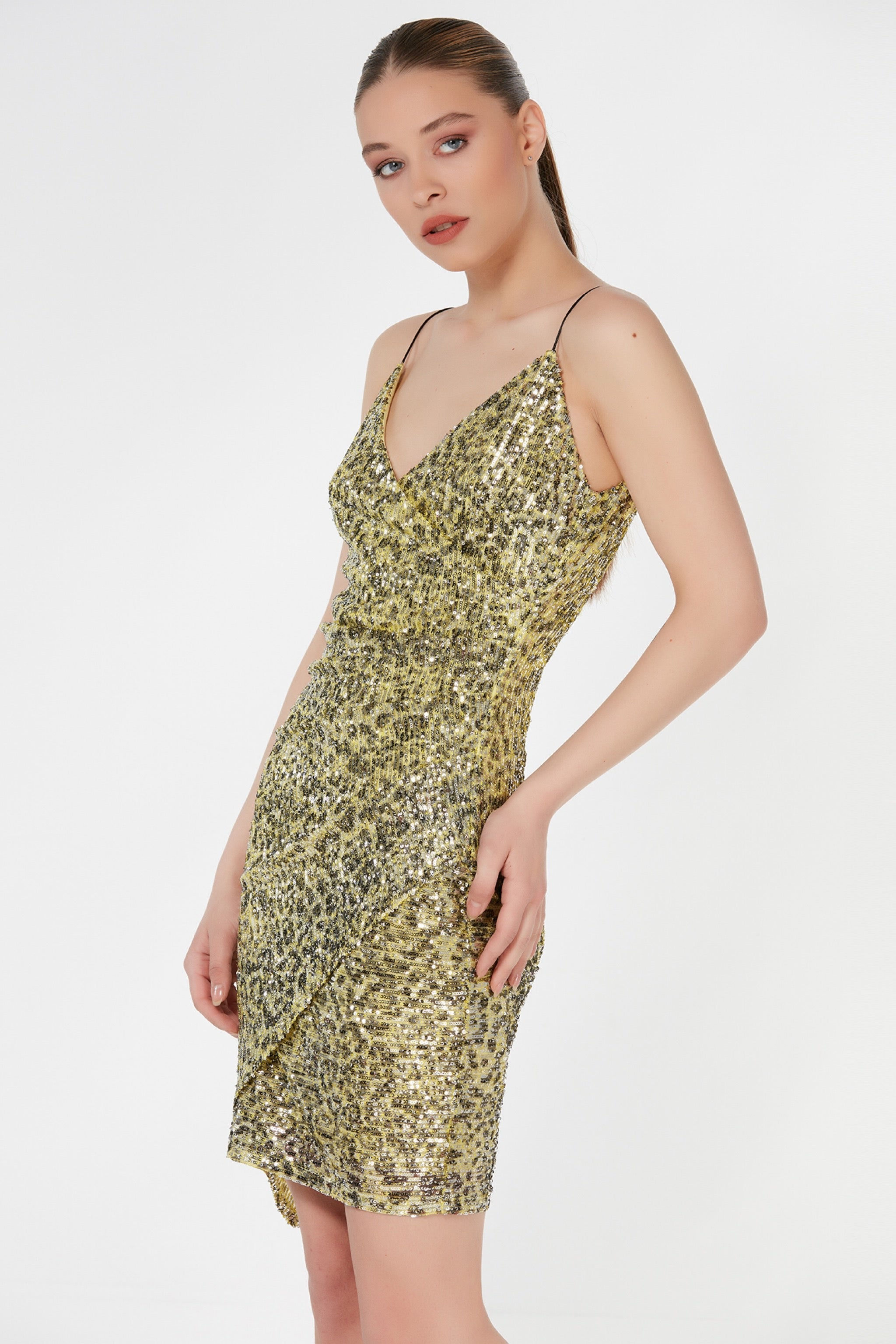 Animal print sequin bodycon strapless dress - 54403