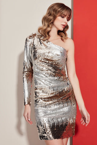Sequin Party dress with One shoulder