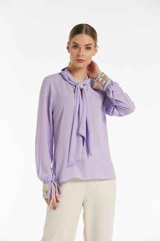 Long sleeves pleated top - 16123
