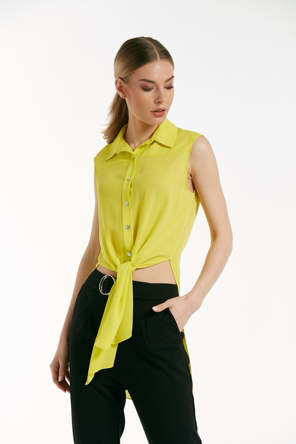 Sleeveless wrap front top - 16200
