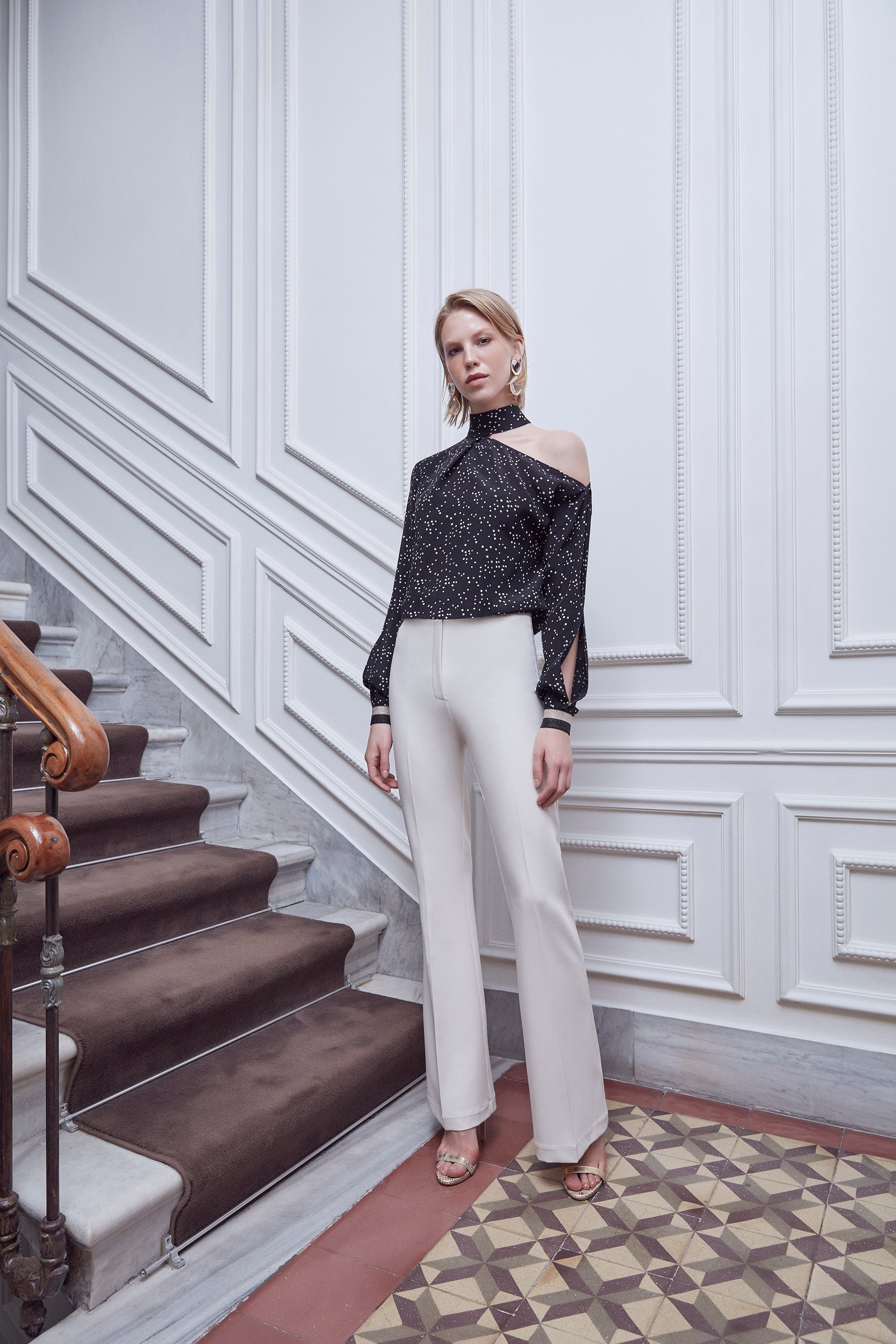 High waist lined smart trousers