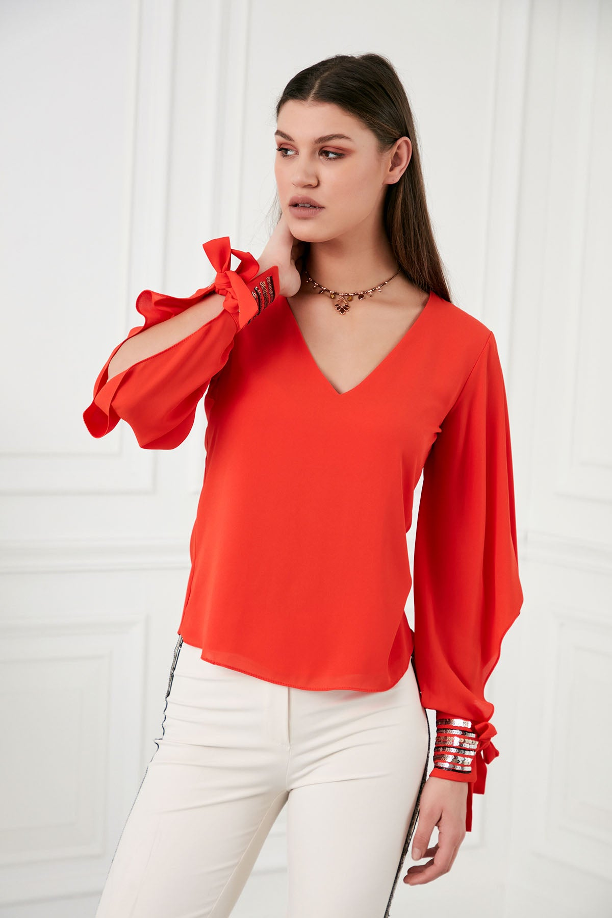 Red sequin Top