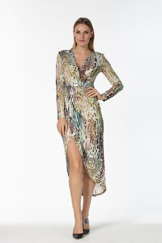 V neck long sleeves sequin print body top - 16250