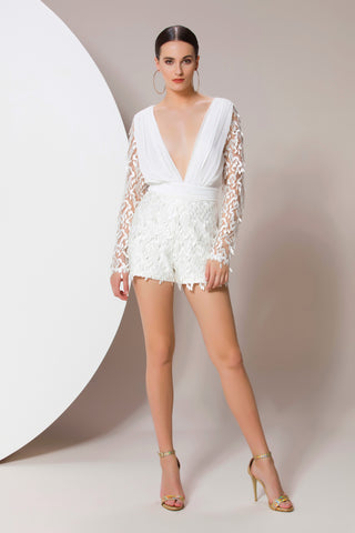 Embroidered V neck Playsuit - 71572