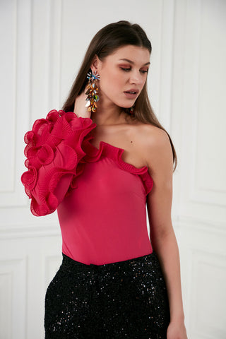 One Shoulder Ruffle Top in Black