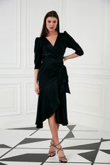 Black Midi Wrap dress