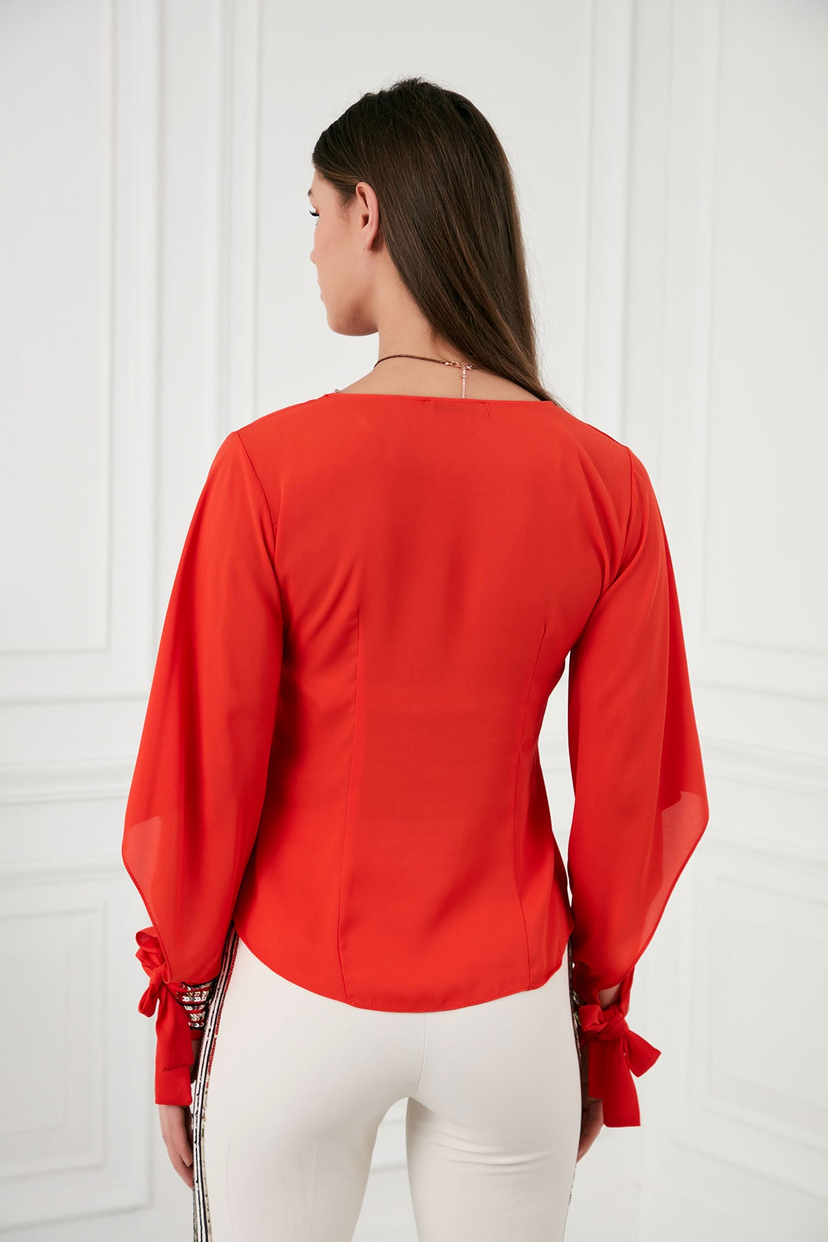V Neck Sequin Adjustable Cuffs Red Top - 16540
