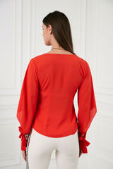 V Neck Red Top with Sequin Adjustable Cuffs