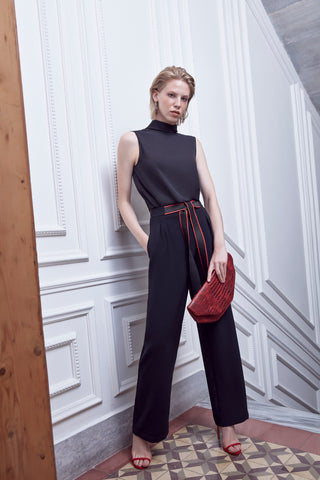 High waist wide trousers with red belt