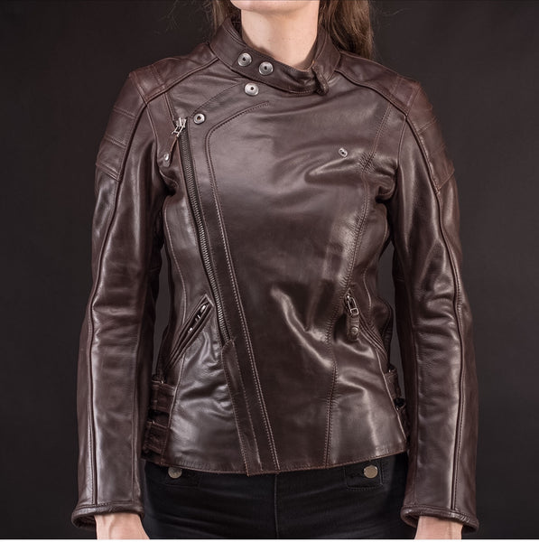 Brown Leather Women Jacket- The Class.