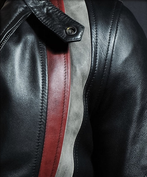 Striped black leather jackets