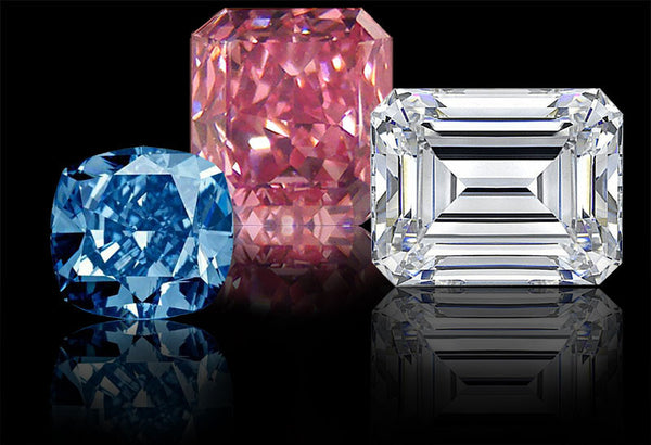 Blue and Pink Sapphires and Emerald Cut Diamond