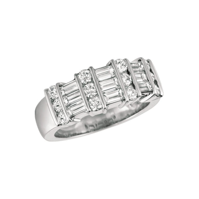 PLATINUM BAGUETTE AND ROUND DIAMONDS WOMAN ETERNITY RING THREE ROWS