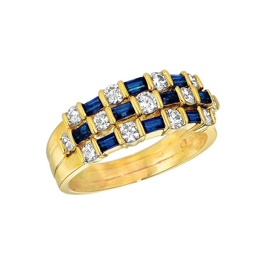 #ALACARTEBRIDAL GK YELLOW GOLD SAPPHIRE AND DIAMOND WOMEN'S RING