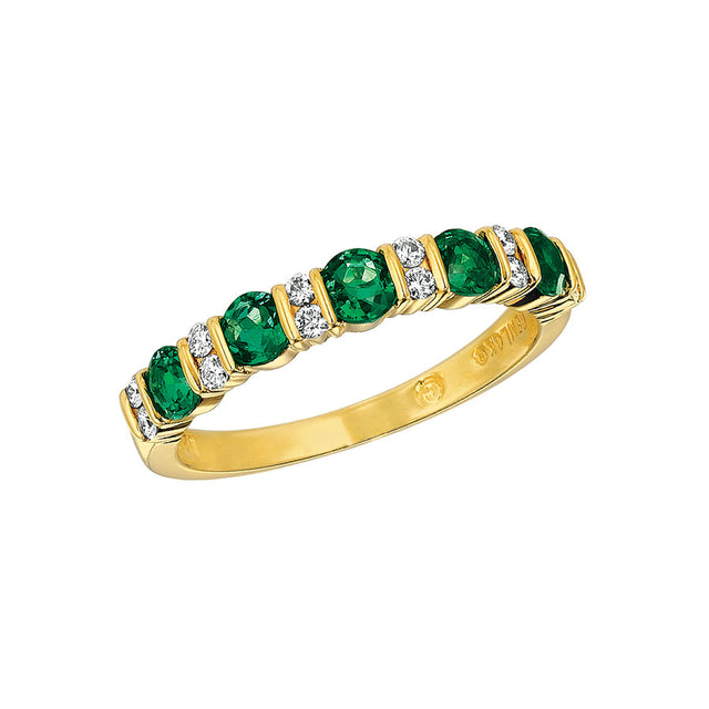 #ALACARTEBRIDAL GK YELLOW GOLD, EMERALD AND DIAMOND WOMEN'S PART WAY ETERNITY BAND