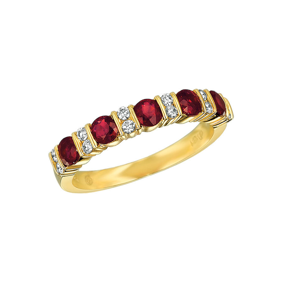 #ALACARTEBRIDAL GK YELLOW GOLD, RUBY AND DIAMOND WOMEN'S PART WAY ETERNITY BAND - GERARDRIVERON