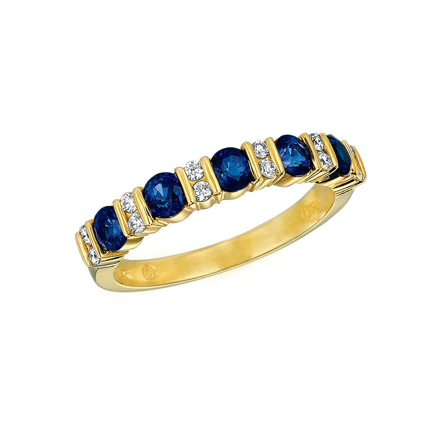 #ALACARTEBRIDAL GK YELLOW GOLD, SAPPHIRE AND DIAMOND WOMEN'S PART WAY ETERNITY BAND - GERARDRIVERON