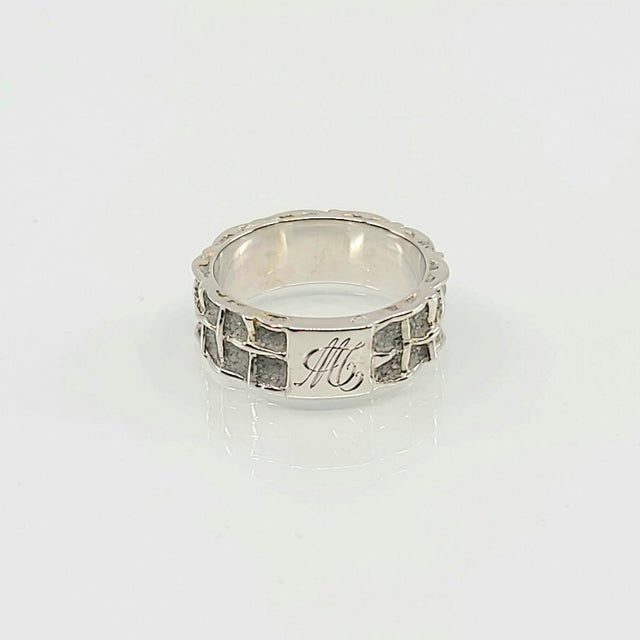 RING CHEVALIERE WHITE GOLD PATRICE FABRE BÉTON 2 ROWS MS