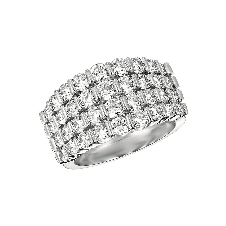 #ALACARTEBRIDAL GK PLATINUM AND DIAMOND 4 ROWS WOMEN'S RING - GERARDRIVERON