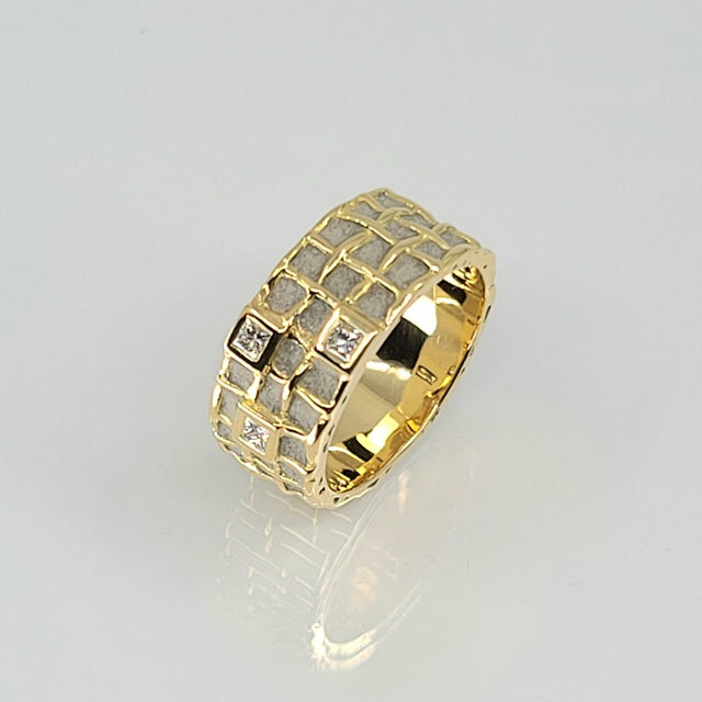 RING YELLOW GOLD DIAMOND PATRICE FABRE BÉTON 3 ROWS MS