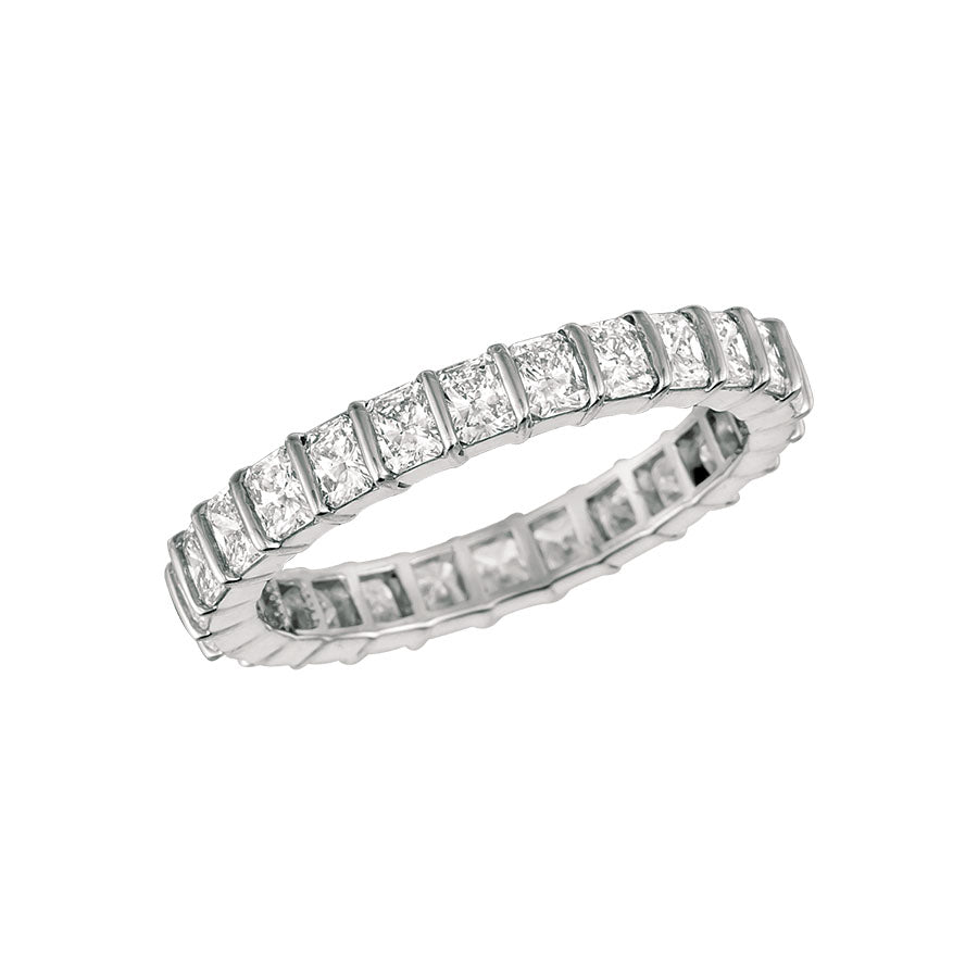 #alacartebridal GK Platinum and Radiant-cut Diamond Women's Eternity Band - GERARDRIVERON