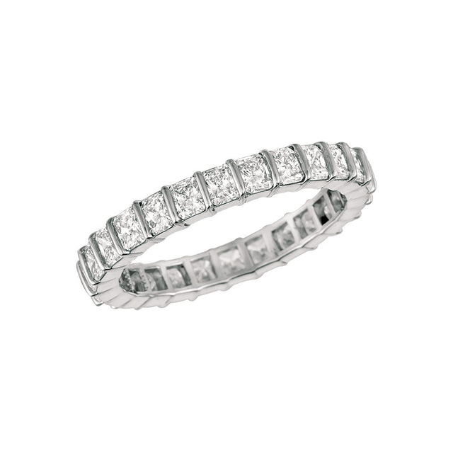 #alacartebridal GK Platinum and Radiant-cut Diamond Women's Eternity Band