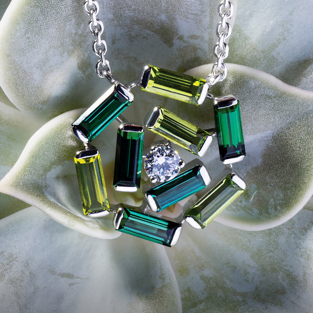 BROADWAY NECKLACE WHITE GOLD DIAMOND GREEN TOURMALINE AND PERIDOT BAGUETTE, MANHATTAN COLLECTION - GERARDRIVERON