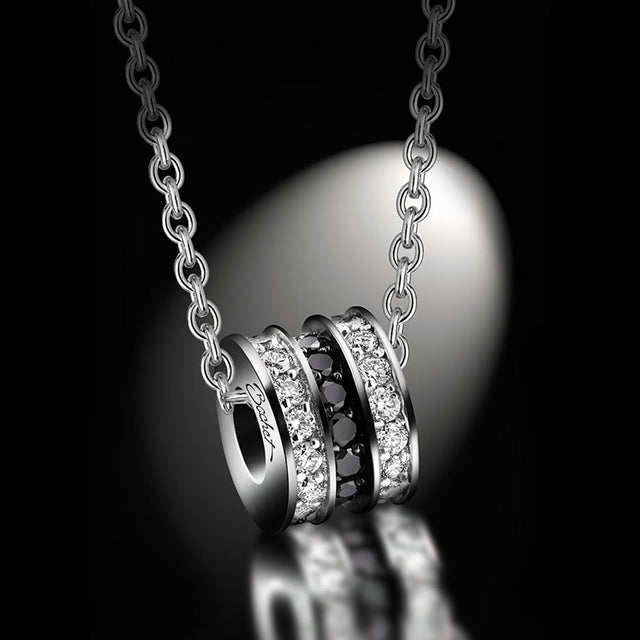 Maison Bachet Pendent 'Scroll In Love' Large, White Gold Women's Collection