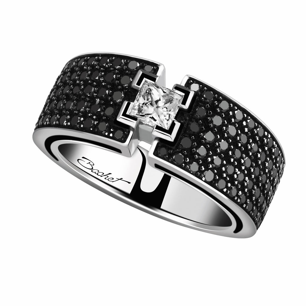 Women's Collection Engagement Ring 'BlackLight Shine', White Gold, Medium model - GERARDRIVERON